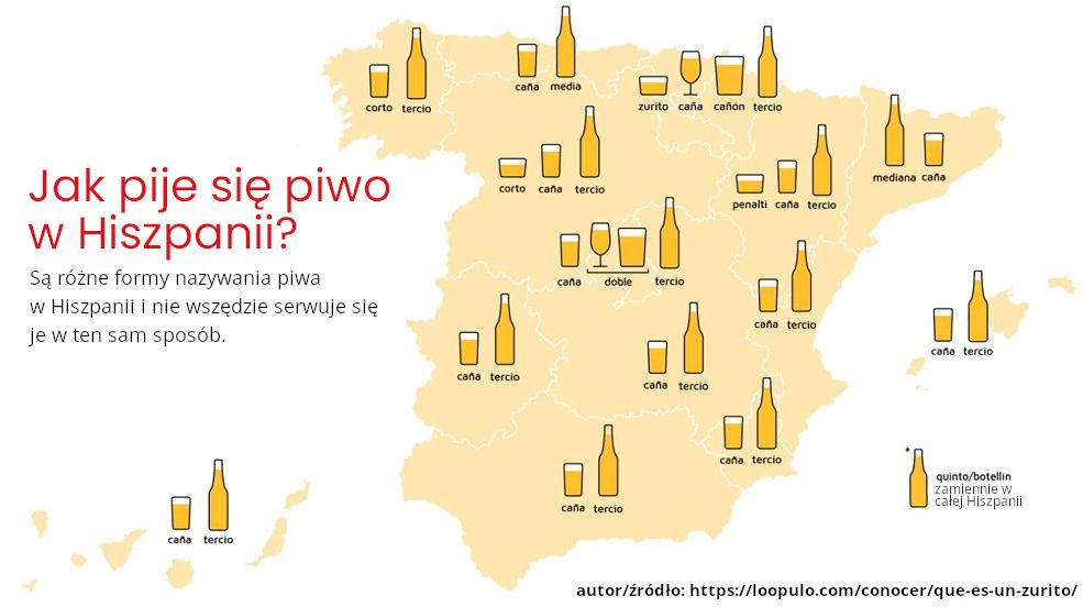 rodzaje piwa w Hiszpanii mapa